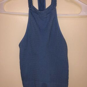 baby blue high neck crop top